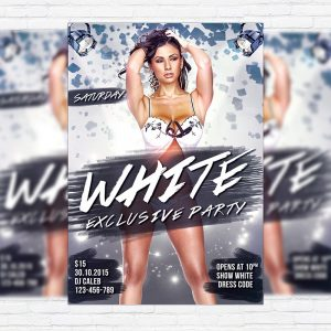 White Exclusive Party - Premium Flyer Template + Facebook Cover