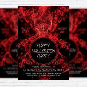Happy Halloween Night - Premium Flyer Template + Facebook Cover