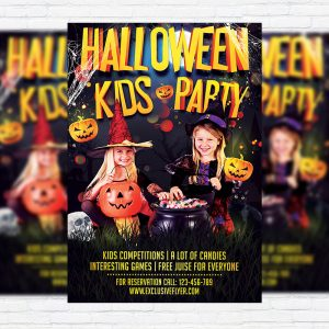 Kids Halloween - Premium Flyer Template + Facebook Cover