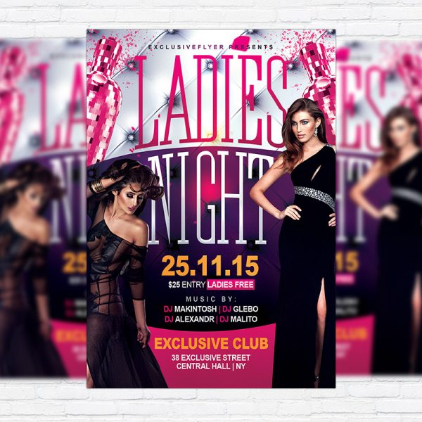 Ladies Night - Premium Flyer Template + Facebook Cover