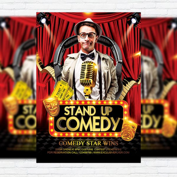 Comedy Party - Premium Flyer Template + Facebook Cover