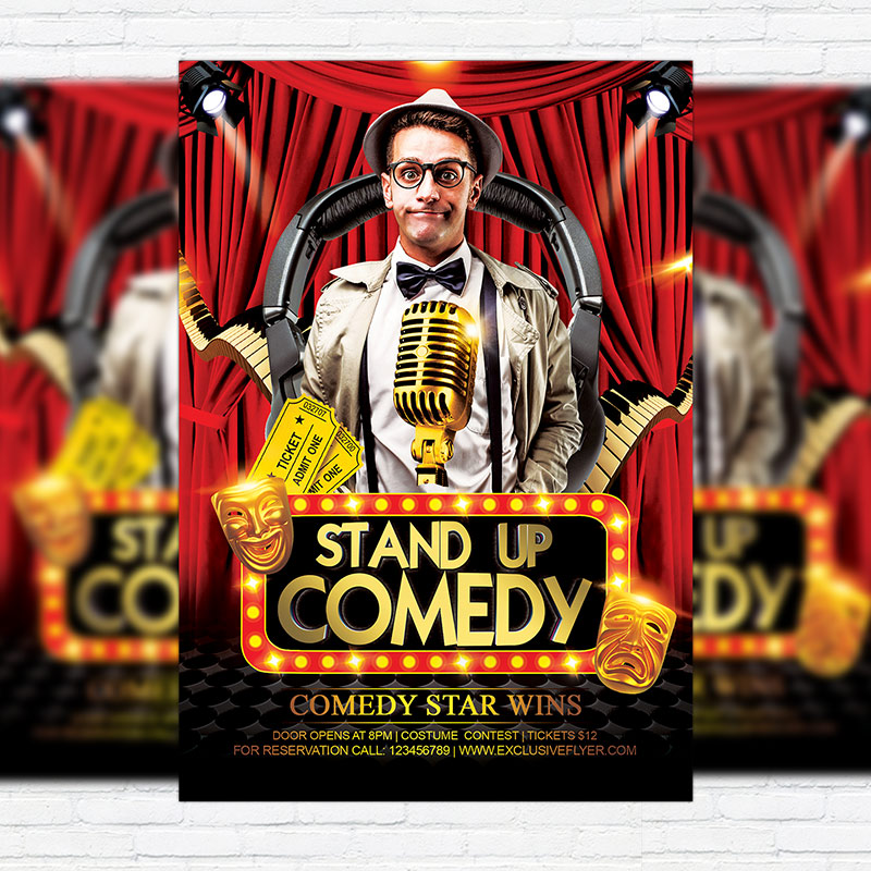 Comedy Party – Premium Flyer Template + Facebook Cover