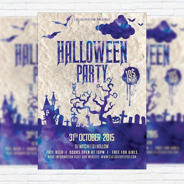 Halloween Night Party - Premium Flyer Template + Facebook Cover