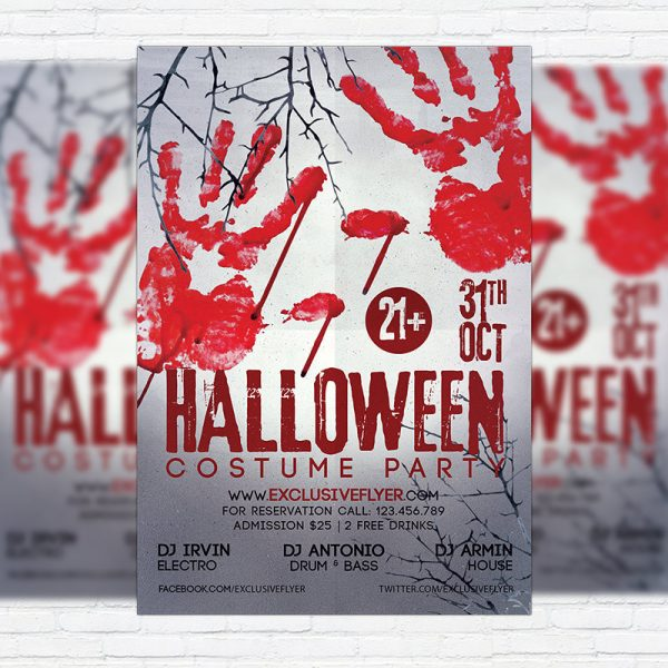 Halloween Costume Party - Premium Flyer Template + Facebook Cover