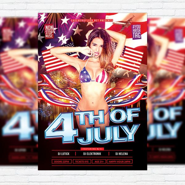 4th of July - Premium Flyer Template + Facebook Cover