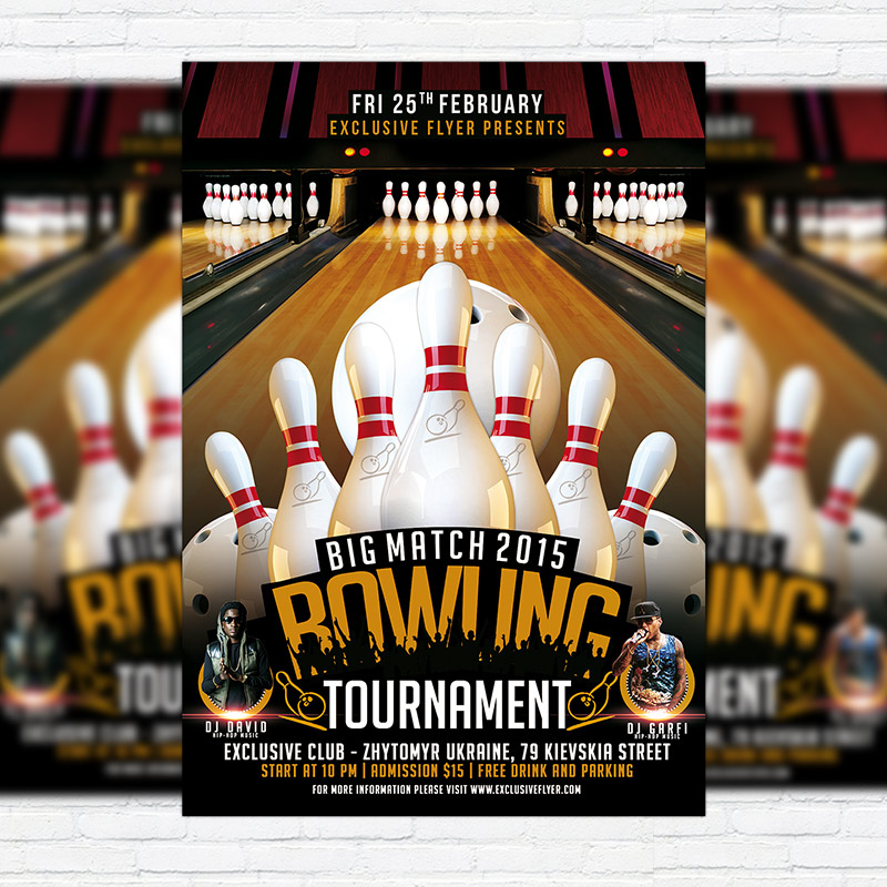 Bowling Tournament   Premium PSD Flyer Template  Bowling Flyer Template Free