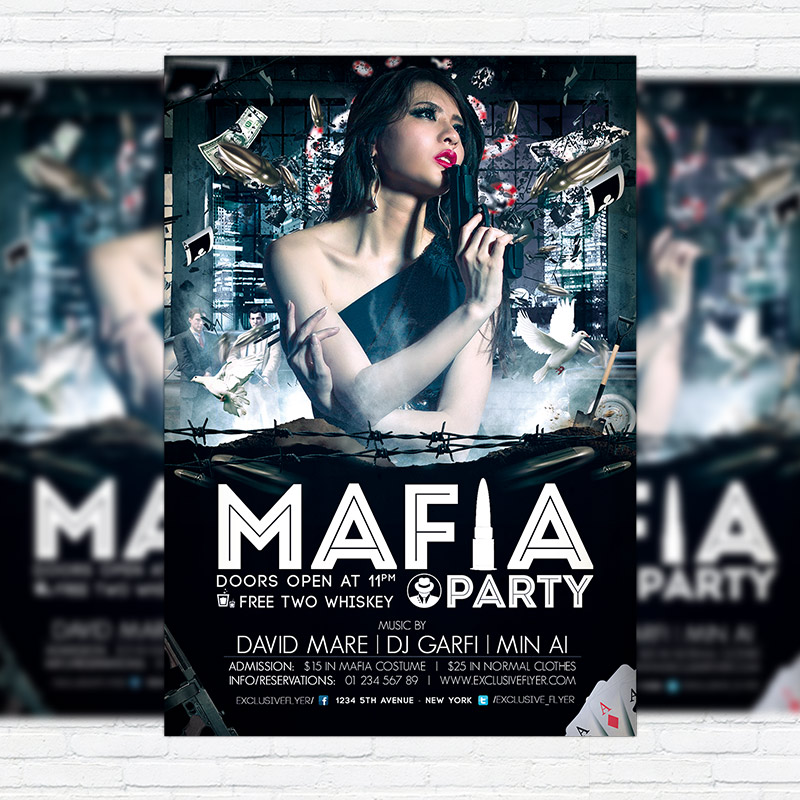 Mafia Party   Premium PSD Flyer Template