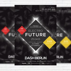 Electro Future - Premium Flyer Template + Facebook Cover