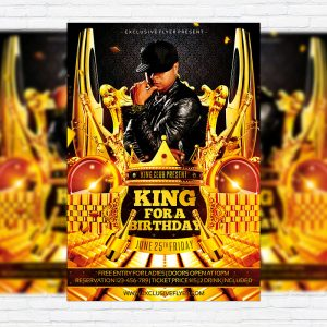 King for a Birthday - Premium Flyer Template + Facebook Cover