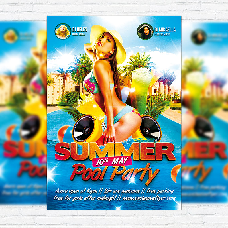 Summer Pool Party   Premium Flyer Template + Facebook Cover