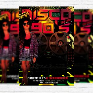 Disco 90`s - Premium Flyer Template + Facebook Cover