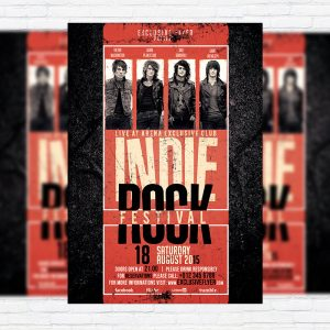 Indie Rock Festival - Premium Flyer Template + Facebook Cover