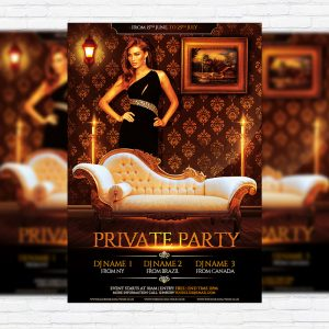 Private Party - Premium Flyer Template + Facebook Cover