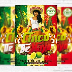 Cinko De Mayo - Premium Flyer Template + Facebook Cover