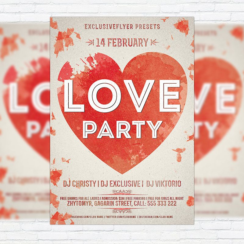 Love Party – Free Club and Party Flyer PSD Template
