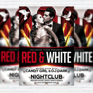 Red and White - Premium Flyer Template + Facebook Cover