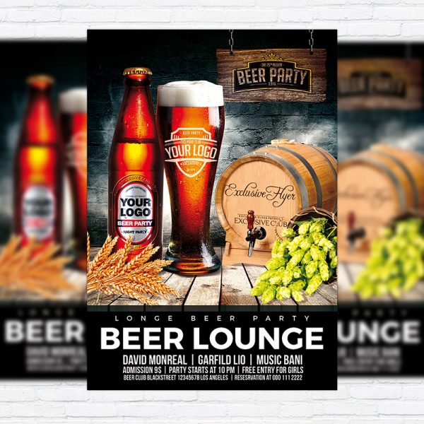 Beer Lounge - Premium Flyer Template + Facebook Cover