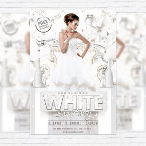 White Best Party - Premium Flyer Template + Facebook Cover