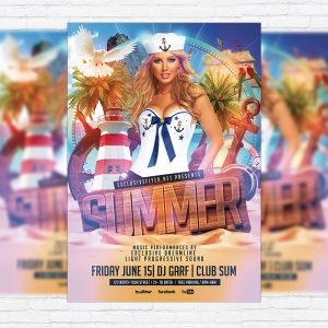 Summer Party - Premium Flyer Template + Facebook Cover