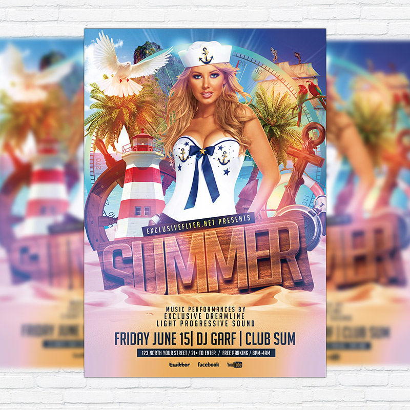 Summer Party  Premium Flyer Template  Facebook Cover