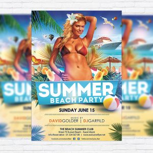 Summer Beach Party - Premium Flyer Template + Facebook Cover