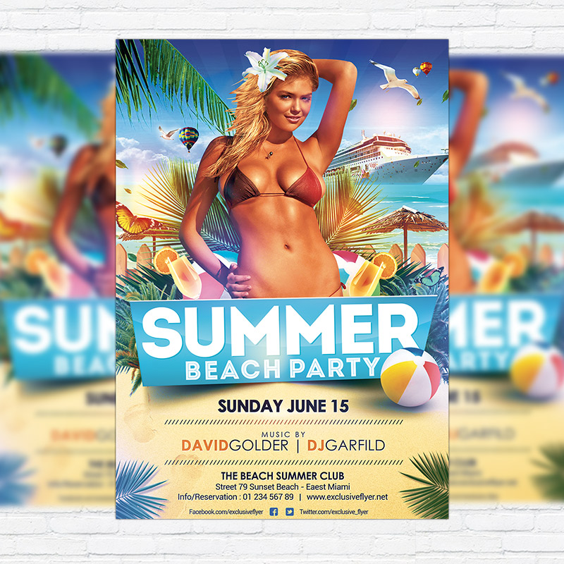 Summer Beach Party – Premium Flyer Template + Facebook Cover