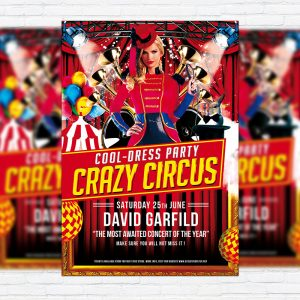 Crazy Circus - Premium Flyer Template + Facebook Cover