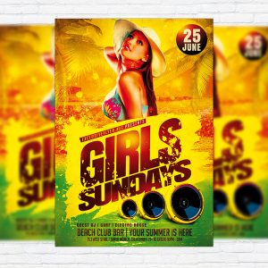 Girls Sundays - Premium Flyer Template + Facebook Cover