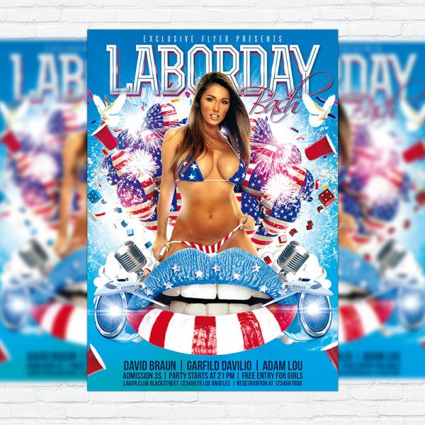 Labor Day Bash - Premium Flyer Template + Facebook Cover