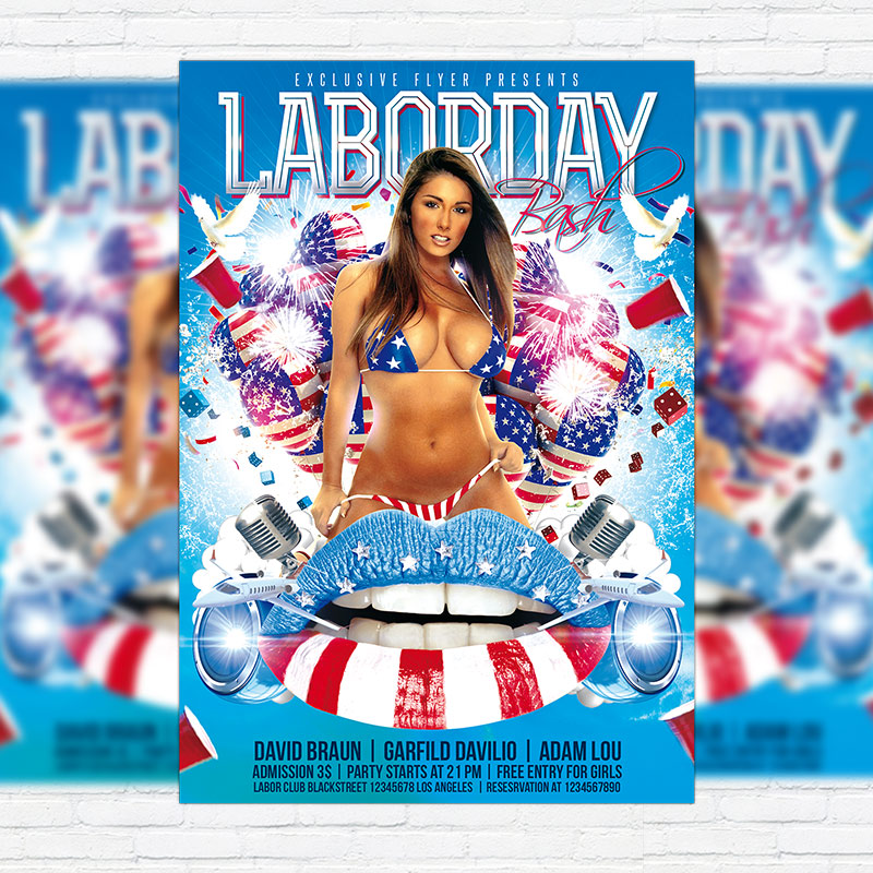Labor Day Bash Premium Flyer Template Facebook Cover