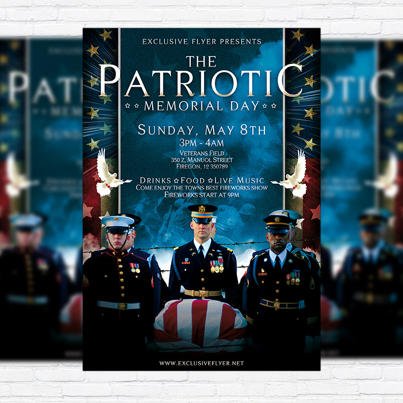 Patriotic Memorial Day  Premium Flyer Template  Facebook Cover