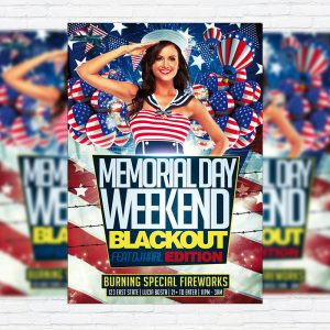 Memorial Day - Premium Flyer Template + Facebook Cover