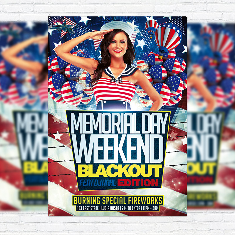 Memorial Day  Premium Flyer Template  Facebook Cover