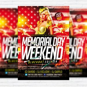 Memorial Day Weekend - Premium Flyer Template + Facebook Cover