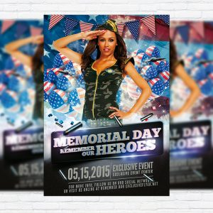 Memorial Day Heroes - Premium Flyer Template + Facebook Cover