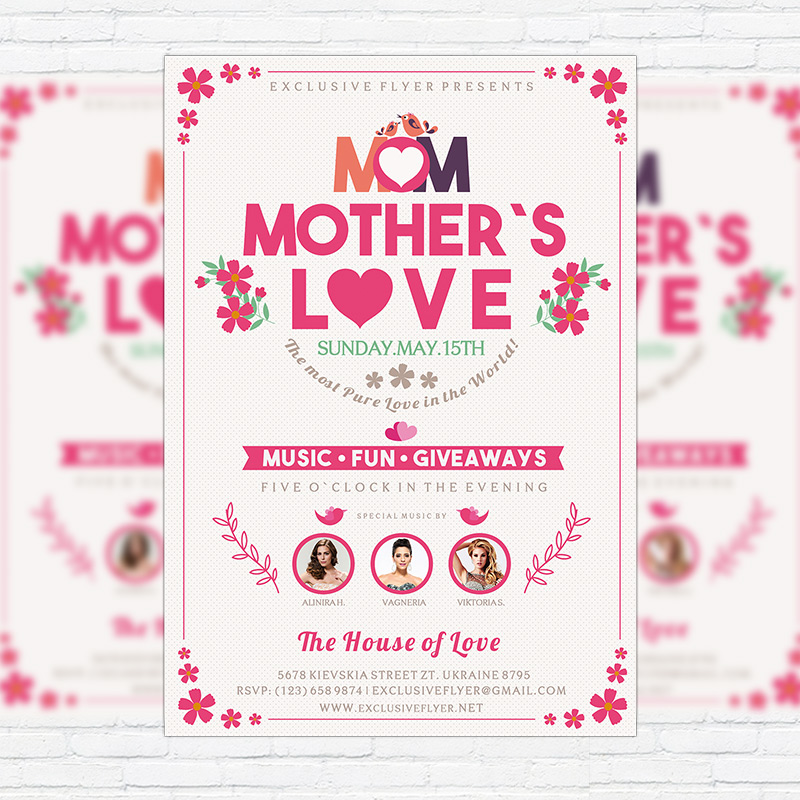Mothers Day Sale Flyer Psd Template: Premium Flyer Template + Facebook Cover