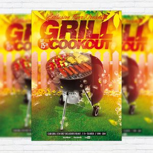 Grill Cookout - Premium Flyer Template + Facebook Cover