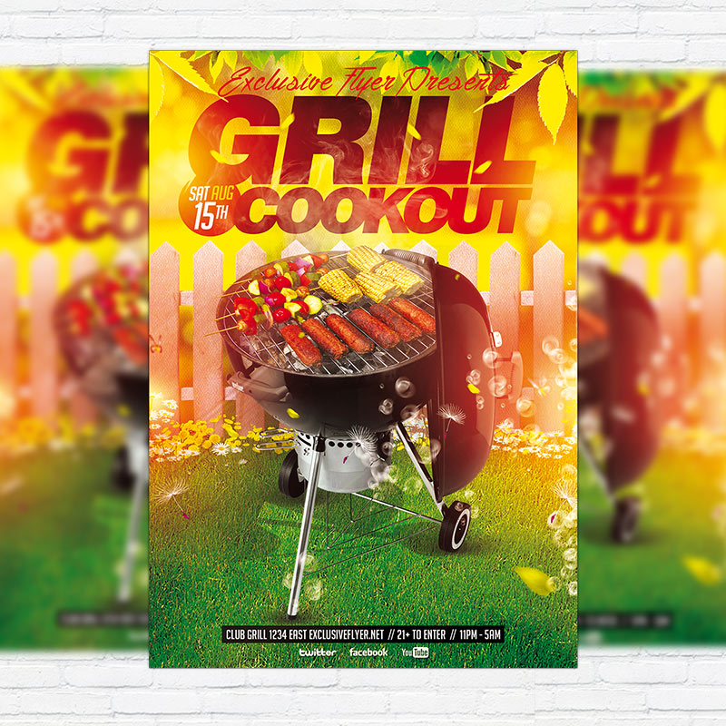 grill cookout premium flyer template facebook cover. Black Bedroom Furniture Sets. Home Design Ideas