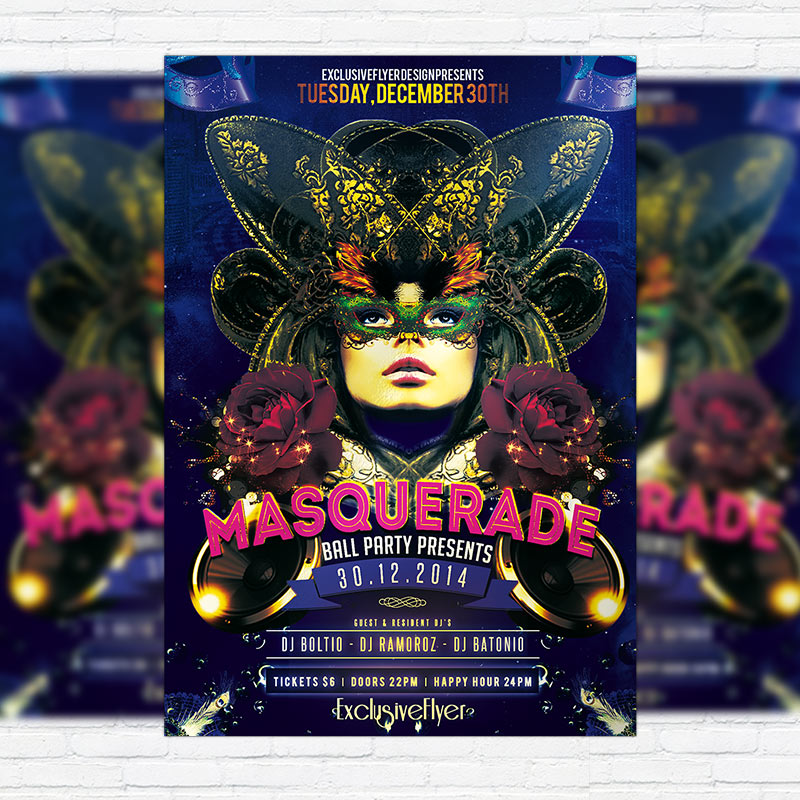 masquerade ball party premium psd flyer template exclsiveflyer