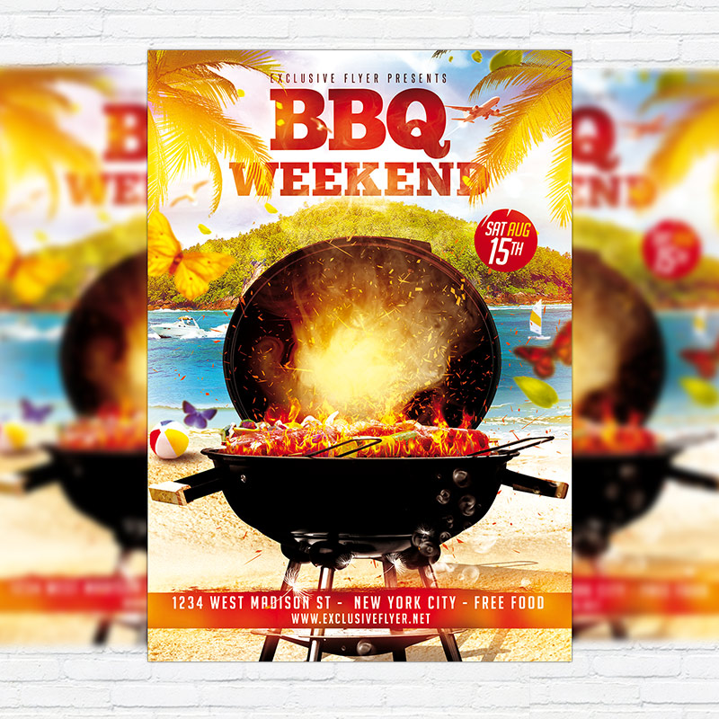 Bbq Weekend  Premium Flyer Template  Facebook Cover