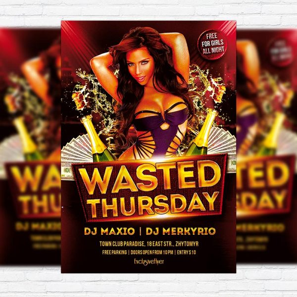 Wasted Thursdays - Free Club and Party Flyer PSD Template