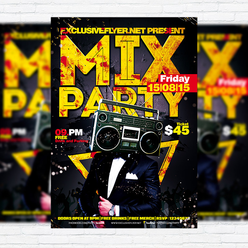 mix party premium flyer template facebook cover exclsiveflyer free and premium psd templates. Black Bedroom Furniture Sets. Home Design Ideas