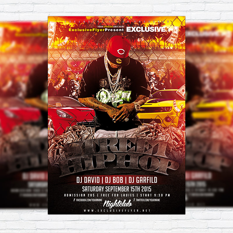 Street Hip Hop Premium Flyer Template Facebook Cover