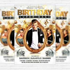 Birthday Super Bash - Premium Flyer Template + Facebook Cover