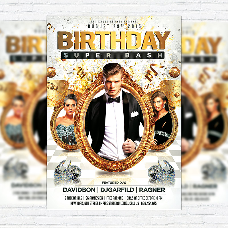 birthday super bash premium flyer template facebook cover