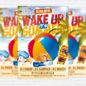 Wake up it's Summer - Premium Flyer Template + Facebook Cover