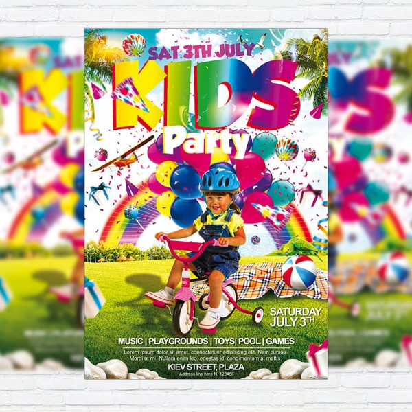 Kids Party Vol.2 - Premium Flyer Template + Facebook Cover