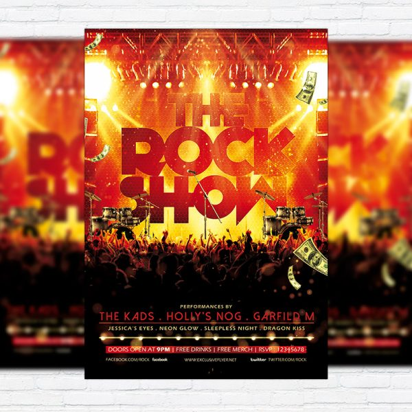 The Rock Show - Premium Flyer Template + Facebook Cover