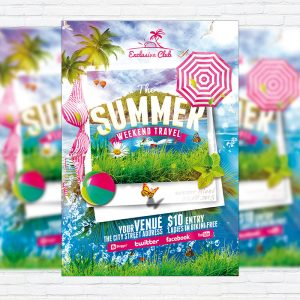 The Summer Weekend Travel - Premium Flyer Template + Facebook Cover