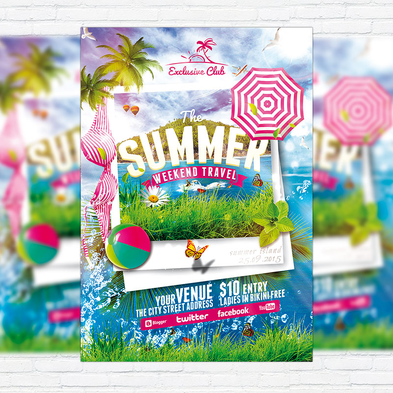 The Summer Weekend Travel – Premium Flyer Template + Facebook